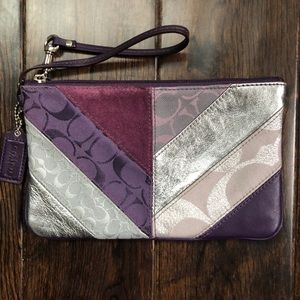 Coach wristlet patchwork purple